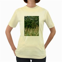 Grass And Trees Nature Pattern Women s T-shirt (Yellow)