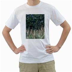 Grass And Trees Nature Pattern Men s Two Sided T Shirt (white)