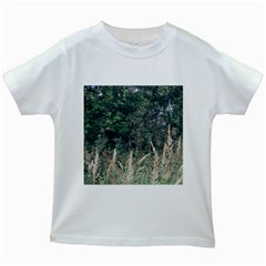 Grass And Trees Nature Pattern Kids T-shirt (White)