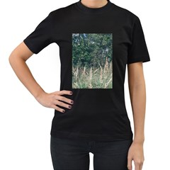 Grass And Trees Nature Pattern Women s Two Sided T-shirt (Black)