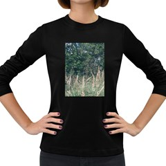 Grass And Trees Nature Pattern Women s Long Sleeve T Shirt (dark Colored)