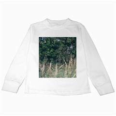Grass And Trees Nature Pattern Kids Long Sleeve T-Shirt