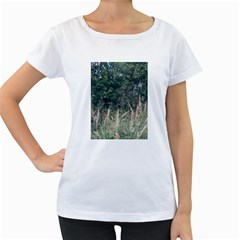 Grass And Trees Nature Pattern Women s Loose Fit T Shirt (white)