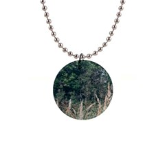 Grass And Trees Nature Pattern Button Necklace