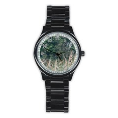 Grass And Trees Nature Pattern Sport Metal Watch (black)