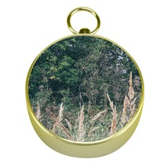 Grass And Trees Nature Pattern Gold Compass