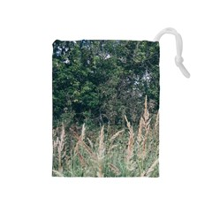 Grass And Trees Nature Pattern Drawstring Pouch (Medium)