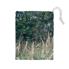 Grass And Trees Nature Pattern Drawstring Pouch (Large)
