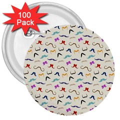 Mustaches 3  Button (100 Pack)