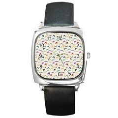 Mustaches Square Leather Watch