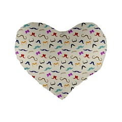 Mustaches Standard 16  Premium Heart Shape Cushion