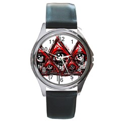 Red White Pyramids Round Leather Watch (silver Rim)