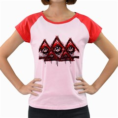 Red White pyramids Women s Cap Sleeve T-Shirt (Colored)