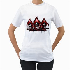 Red White Pyramids Women s Two Sided T Shirt (white)