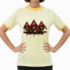 Red White pyramids Women s Ringer T-shirt (Colored)