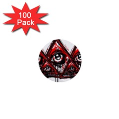 Red White Pyramids 1  Mini Button (100 Pack)