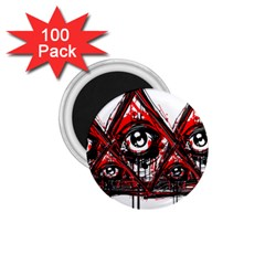 Red White Pyramids 1 75  Button Magnet (100 Pack)