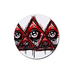 Red White Pyramids Drink Coasters 4 Pack (round)