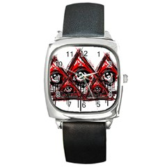 Red White Pyramids Square Leather Watch