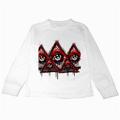 Red White Pyramids Kids Long Sleeve T Shirt