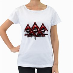 Red White pyramids Women s Loose-Fit T-Shirt (White)