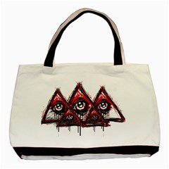 Red White Pyramids Twin Sided Black Tote Bag