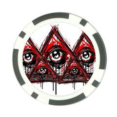 Red White Pyramids Poker Chip