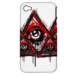 Red White Pyramids Apple Iphone 4/4s Hardshell Case (pc+silicone)