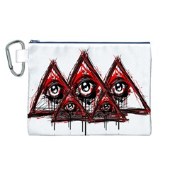 Red White pyramids Canvas Cosmetic Bag (Large)