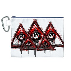 Red White pyramids Canvas Cosmetic Bag (XL)