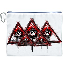 Red White pyramids Canvas Cosmetic Bag (XXXL)