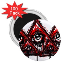 Red White Pyramids 2 25  Button Magnet (100 Pack)