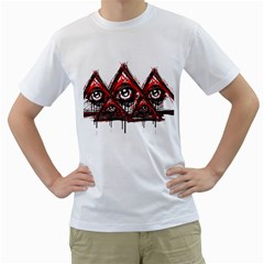 Red White pyramids Men s Two-sided T-shirt (White)