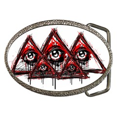 Red White Pyramids Belt Buckle (oval)
