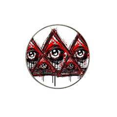 Red White Pyramids Golf Ball Marker 10 Pack (for Hat Clip)