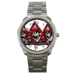 Red White Pyramids Sport Metal Watch