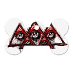 Red White pyramids Dog Tag Bone (One Sided) Front