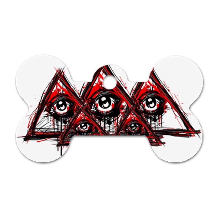 Red White pyramids Dog Tag Bone (One Sided)