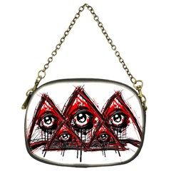 Red White Pyramids Chain Purse (one Side)