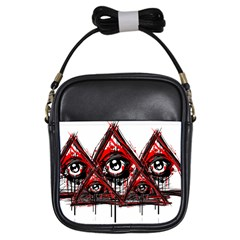 Red White Pyramids Girl s Sling Bag
