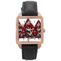Red White Pyramids Rose Gold Leather Watch