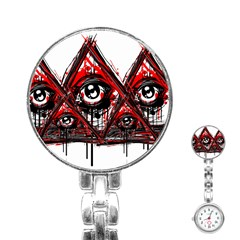 Red White Pyramids Stainless Steel Nurses Watch