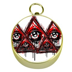 Red White Pyramids Gold Compass