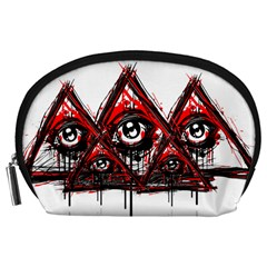 Red White Pyramids Accessory Pouch (large)