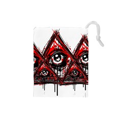 Red White Pyramids Drawstring Pouch (small)