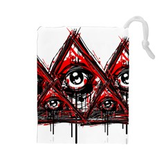 Red White pyramids Drawstring Pouch (Large)
