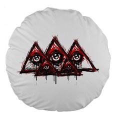 Red White pyramids Large 18  Premium Flano Round Cushion