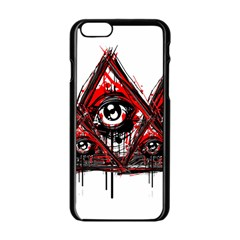 Red White Pyramids Apple Iphone 6 Black Enamel Case