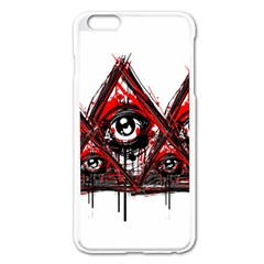 Red White pyramids Apple iPhone 6 Plus Enamel White Case