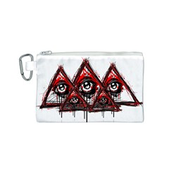 Red White pyramids Canvas Cosmetic Bag (Small)
